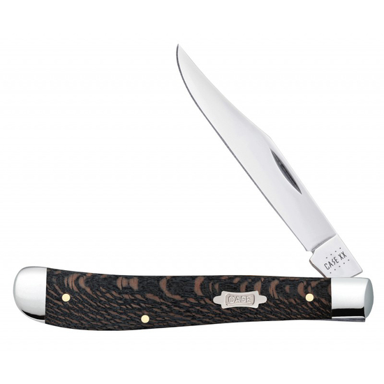 Case Black Sycamore Wood Smooth Slimline Trapper Knife