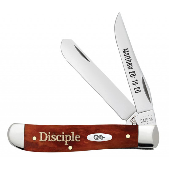 Case Religious Sayings Embellished Smooth Chestnut Bone Mini Trapper Knife