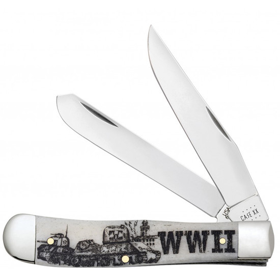 Case WWII Natural Bone Smooth Trapper Knife
