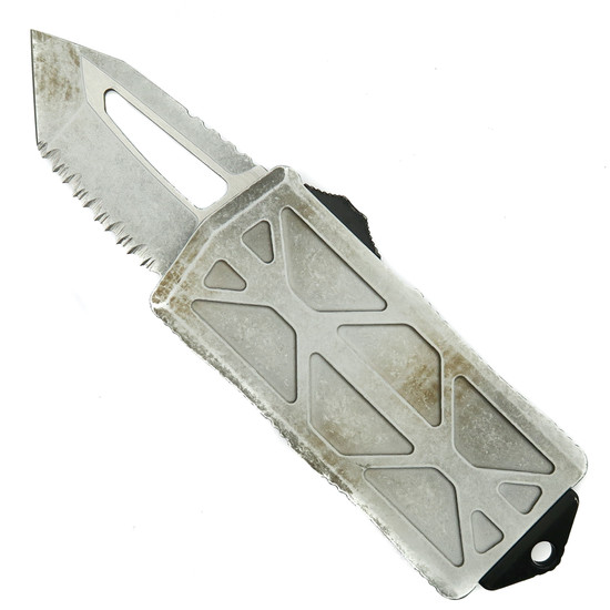 Microtech Sand Trooper Exocet OTF Auto Knife, Serrated Tanto Blade