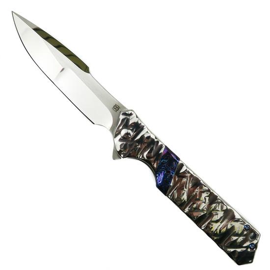 Olamic Cutlery Isolo SE High Polished Ti Rainmaker Flipper Knife, High Polish Compound Harpoon Blade