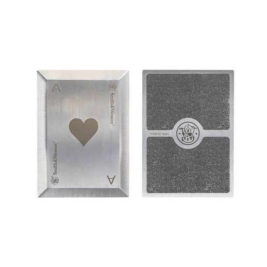 Smith & Wesson Bullseye Stainless Steel Throwing Cards, front back