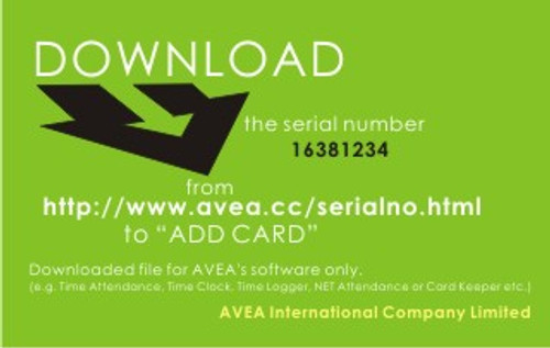 Serial number for ADD CARD (for AVEA's software)