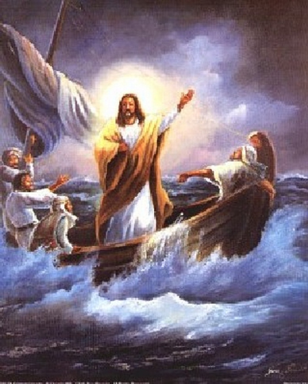 calming the sea jesus christ poster religious posters
