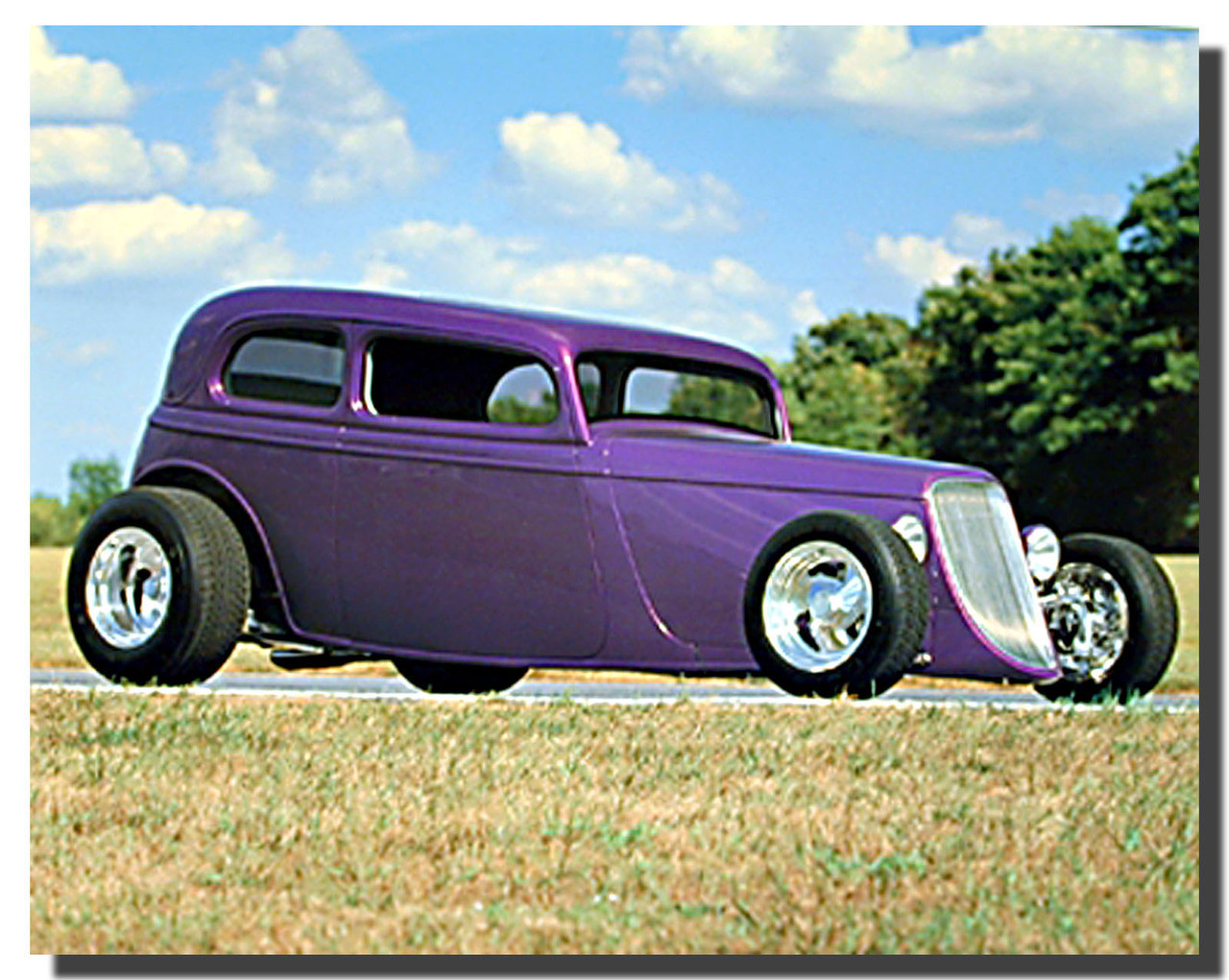 1932 Ford Sedan Classic Purple Car Poster Car Posters Automotive Posters