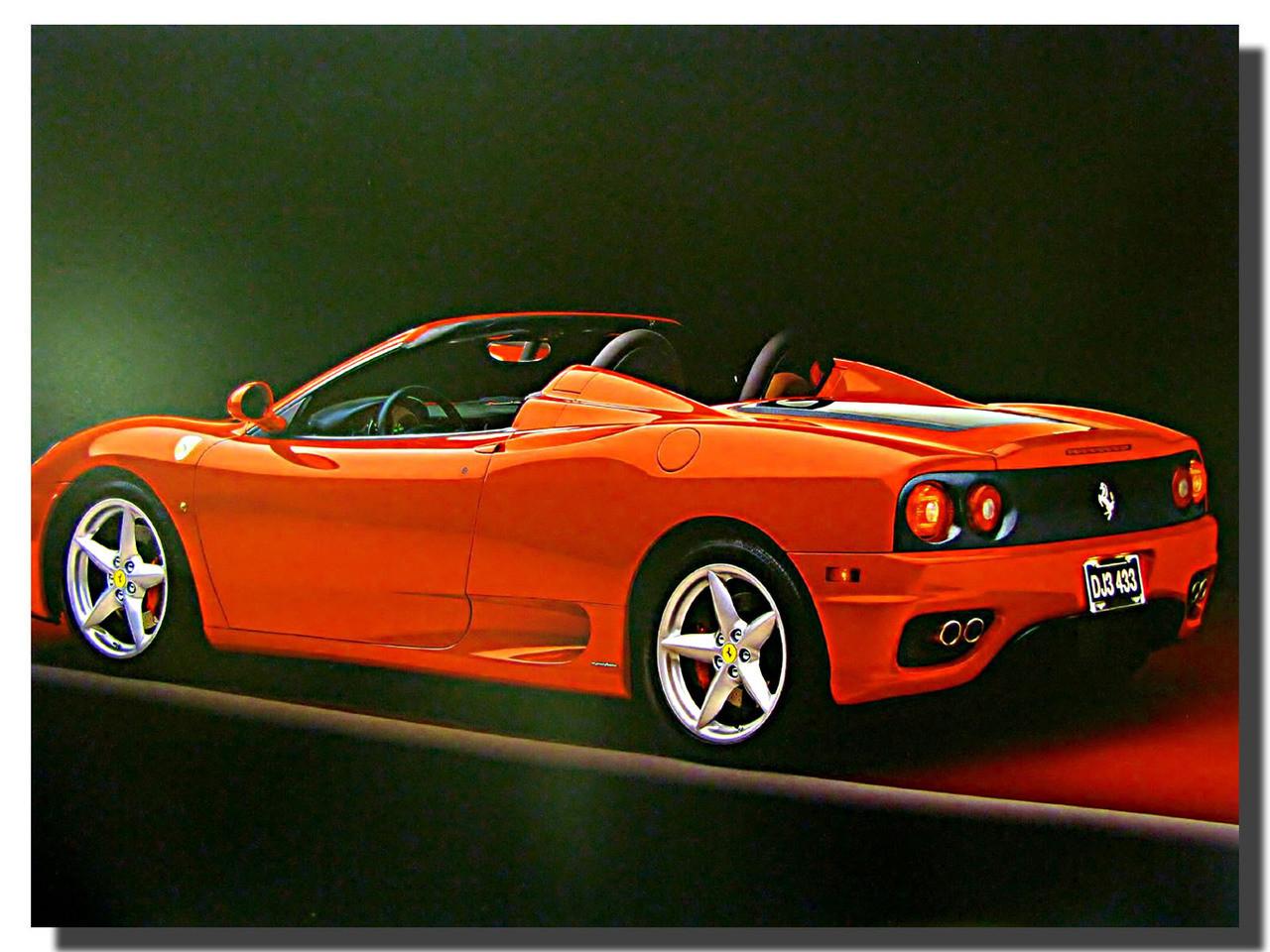 2002 Ferrari 360 Modena F1 Spider Car Poster Car Posters Automotive Posters