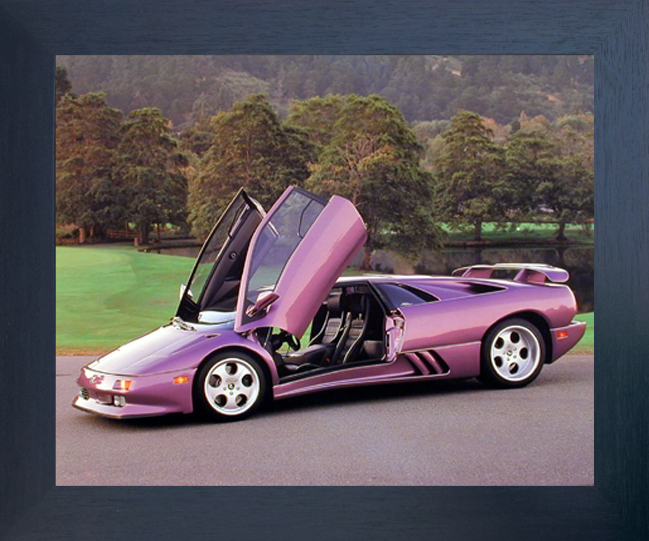 Lamborghini Diablo Open Door View Automobile Car Wall Decor Espresso