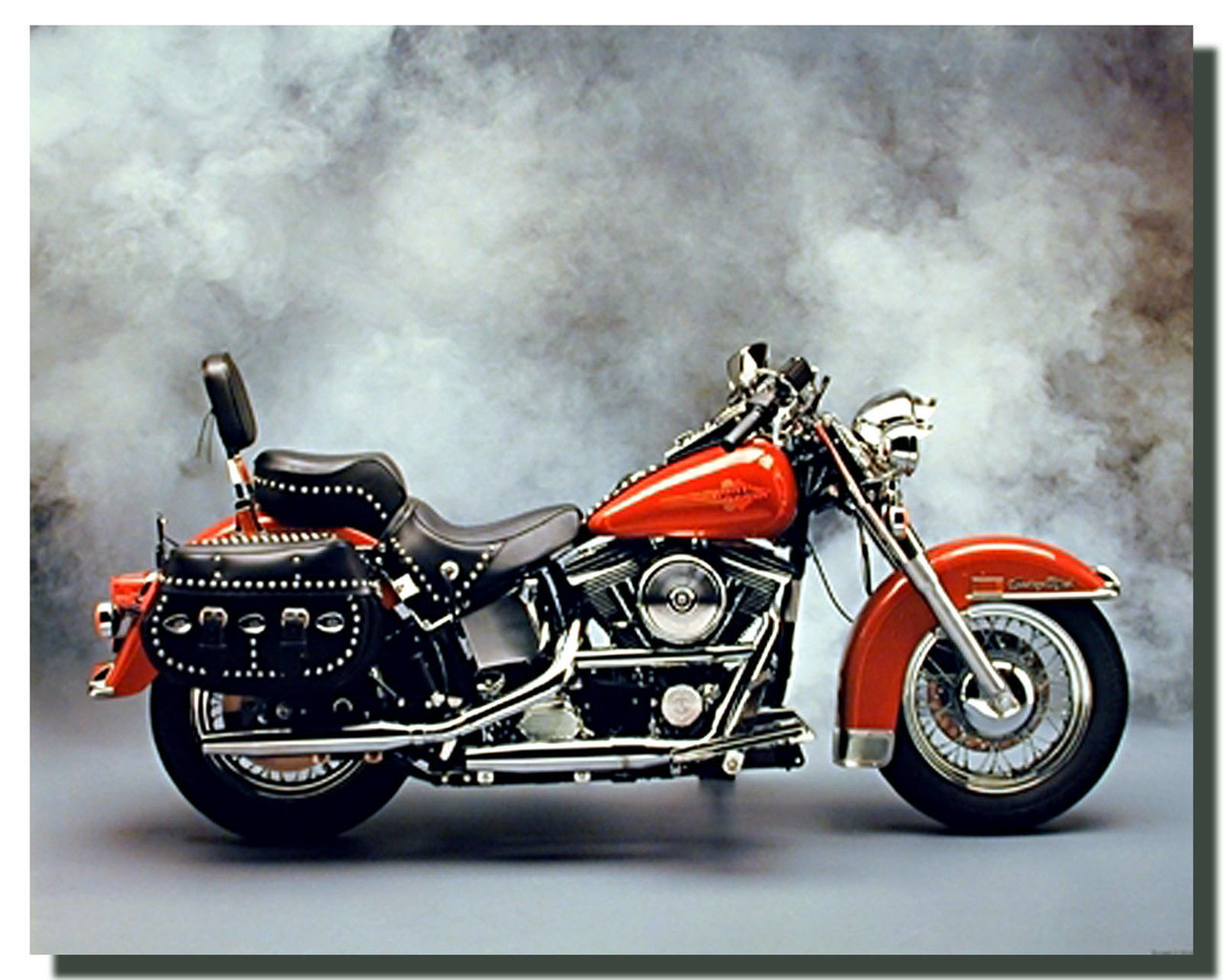 Red Harley Motorcycle Poster Motorcycle Posters