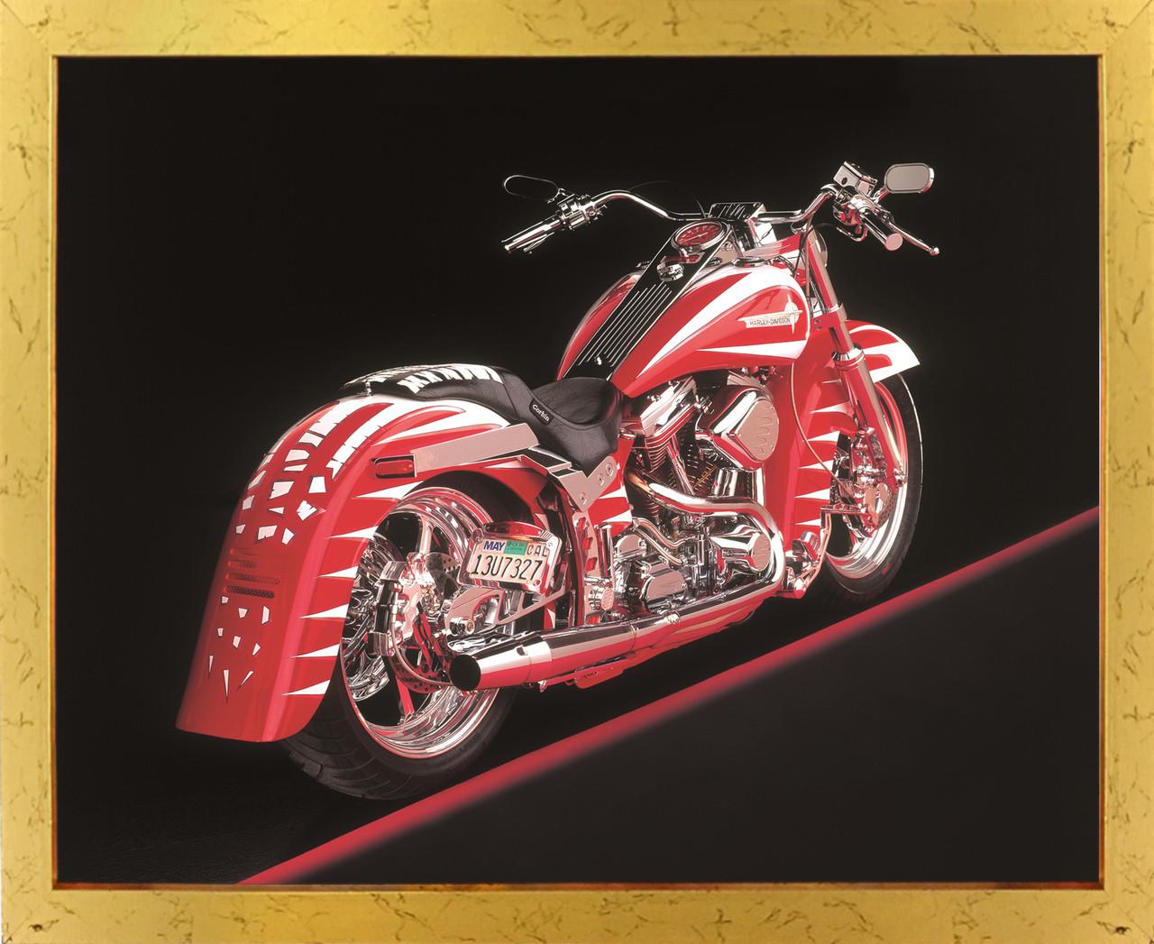 Poster of vintage harley davidson motorcycle golden framed wall decor art print poster 18x24