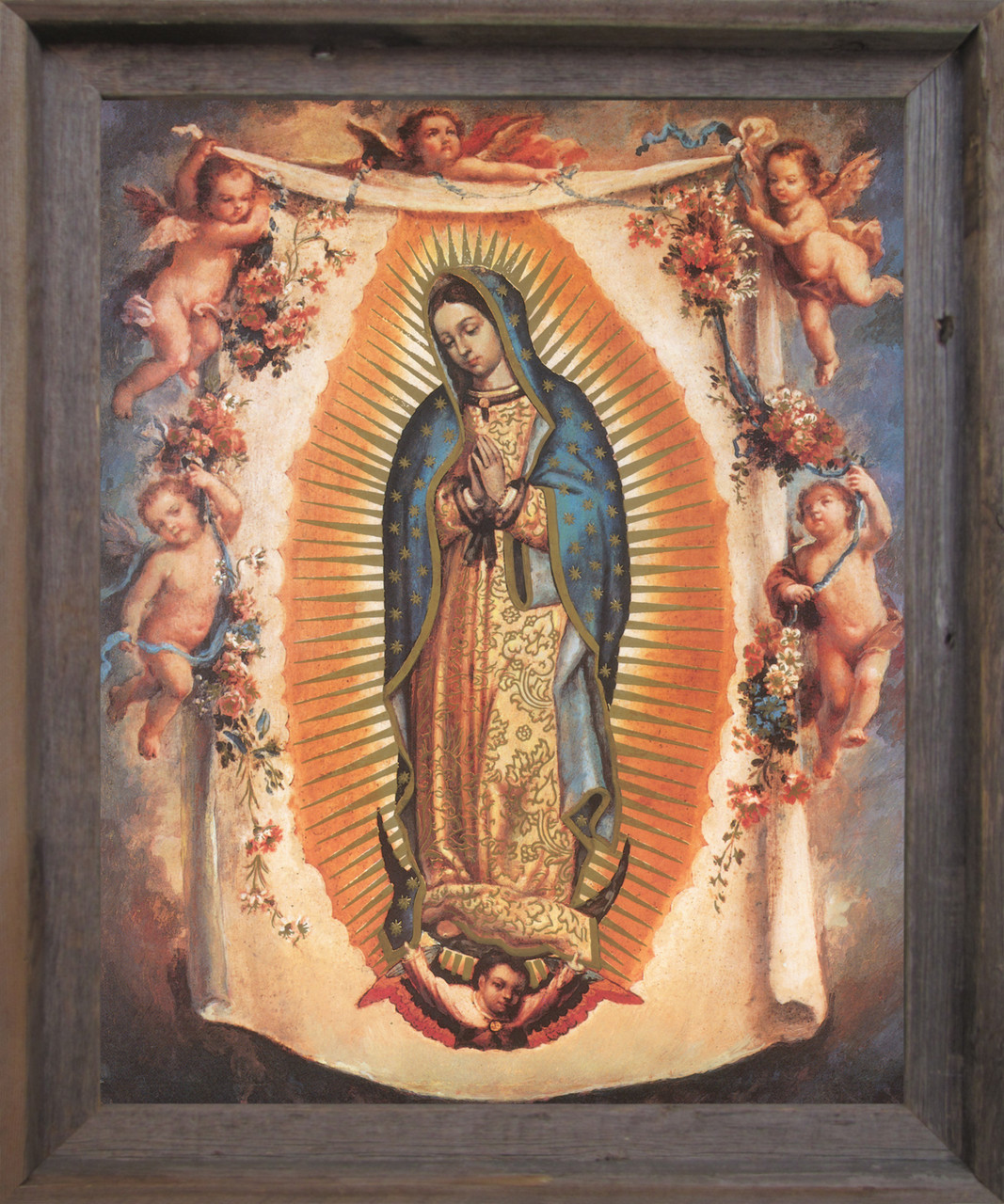 Virgin Mary Our Lady Of Guadalupe With Angels Barnwood Framed Art