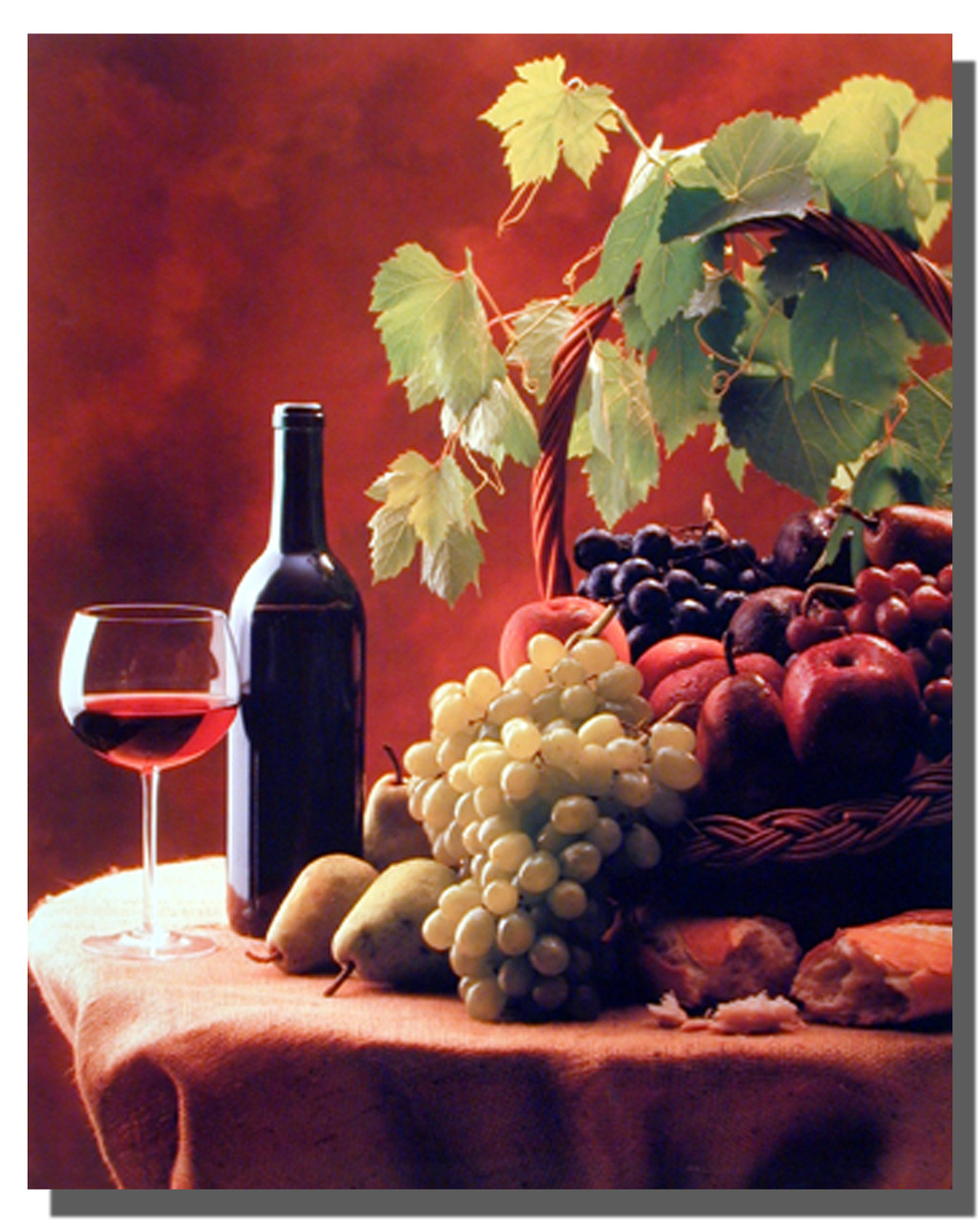 Kitchen Poster Wine And Fruits Decoration Posters