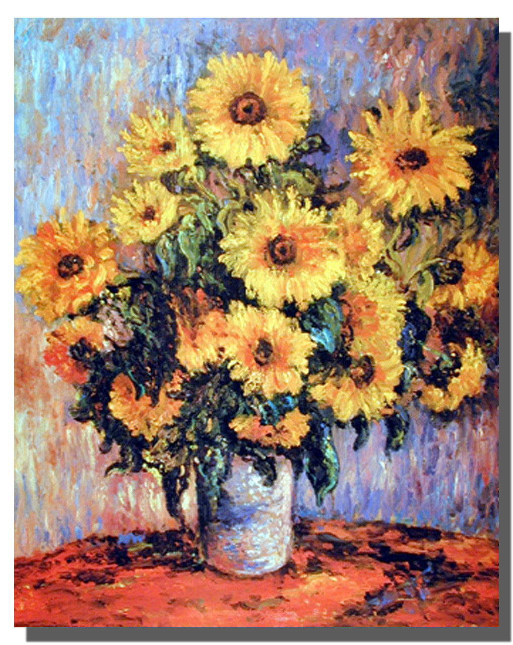 Claude Monet Sunflowers Flower Wall Decor Barnwood Framed Art Picture 19x23