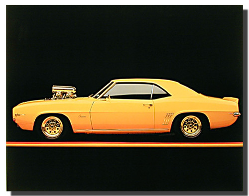 1967 Chevy Camaro Yellow Car Posters