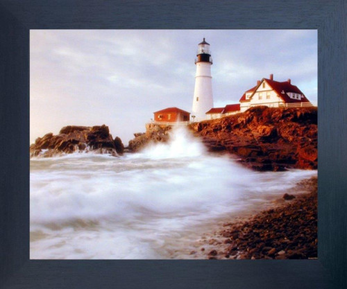 Portland Maine Lighthouse Ocean Espresso Framed Picture Art Print