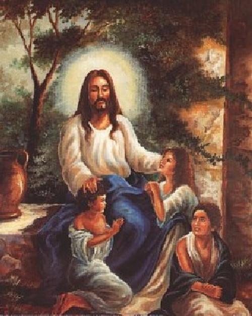 Jesus Christ with Children in the Garden Poster