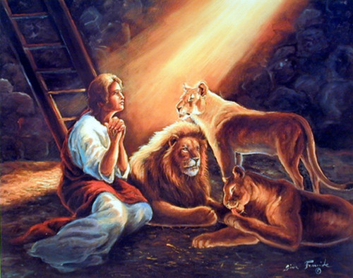 Daniel in the Lion's Den Poster- Jesus Christ