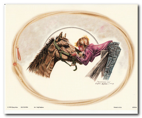 Western Cowgirl Unconditional Love By Virgil Stephens Wall Decor Art Print Poster (16x20)