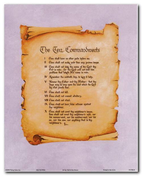 Ten Commandments Catholic Christian Religious Quote Wall Decor Art Print Poster (16x20)