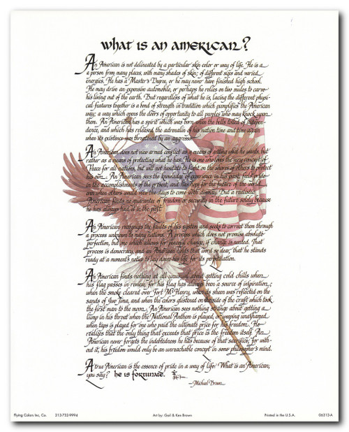 """What Is an American"" Motivational & Inspirational Wall Decor Art Print Poster (16x20)"