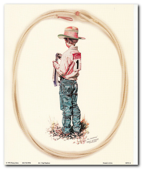 The Champion Western Rodeo Cowboy Wall Decor Art Print Poster (16x20)