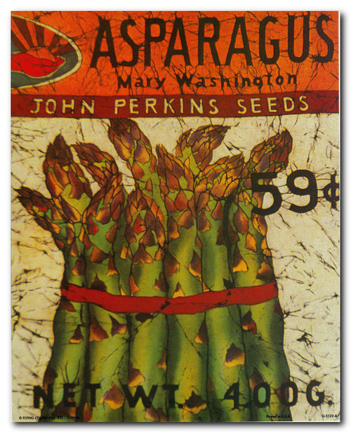 Vintage Arthur Kaplan Lithograph Asparagus Mary Washington John Perkins Seeds Wall Decor Art Print Poster (16x20)