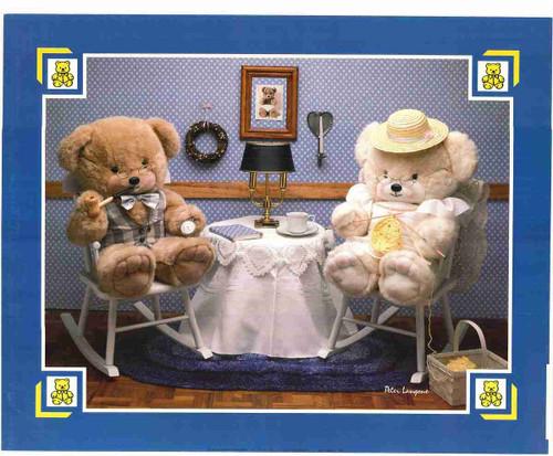 Two Cute Teddy Bear Sitting in Chair Kids Room Wall Art Print Poster (16x20)