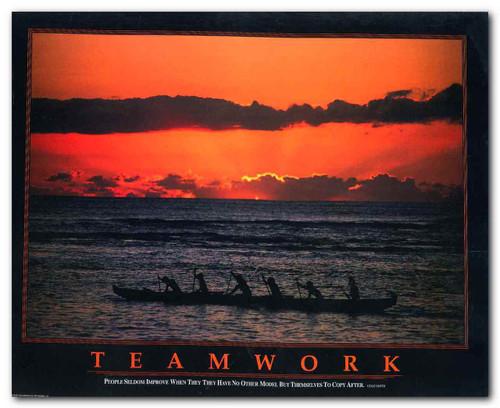 Teamwork Rowers Motivational Wall Decor Art Print Poster (11x14)