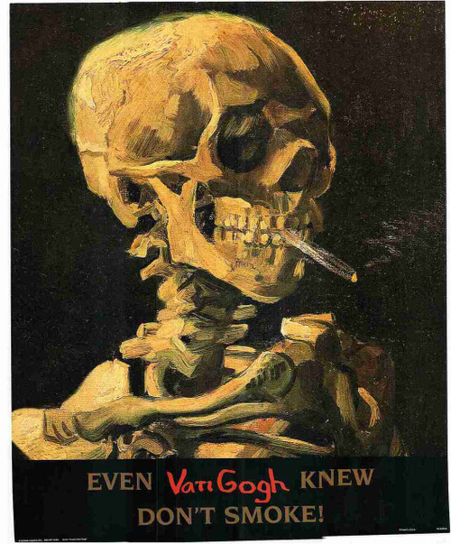 Don't Smoke Skeleton with Cigarette Vincent Van Gogh Fine Art Print Poster (16x20)