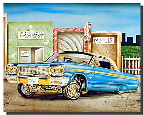 Blue and Gold Lowrider Classic Car Posters