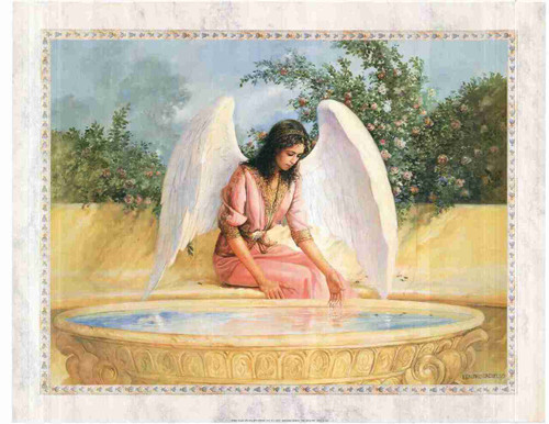 Beautiful Angel Reflections in a Golden Pool Wall Decor Fine Art Print Poster (24x36)