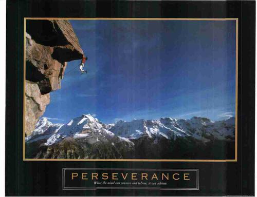 Perseverance Climber Mountain Motivational Wall Decor Art Print Poster (24x36)