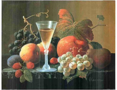 Wine & Fruit Still Life Kitchen Wall Decor Fine Art Print Poster (24x36)