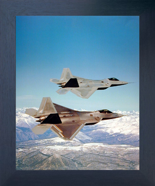 F-22 Raptor Military Jet Plane Aviation Wall Decor Espresso Framed Art Print Picture (20x24)