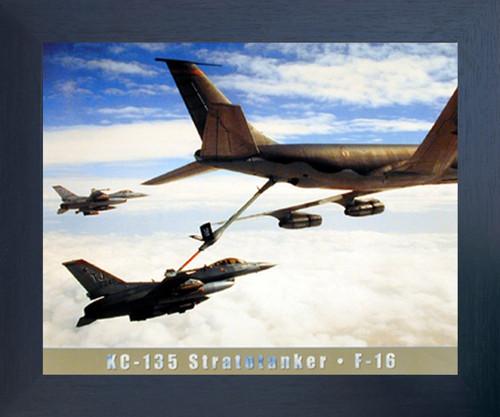 Boeing KC-135 Stratotanker Aerial Refueling F-16 Jet Aviation Aircraft Espresso Framed Picture Art Print (20x24)