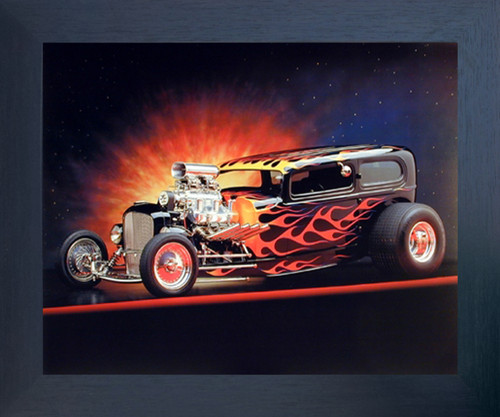 1932 Ford Tudor Flames Automobile Vintage Classic Car Wall Espressso Framed Picture Art Print (20x24)