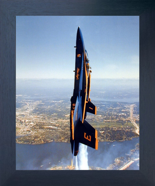 Vertical Blue Angels Military Aviation Aircraft Wall Decor Espresso Framed Picture Art Print (20x24)