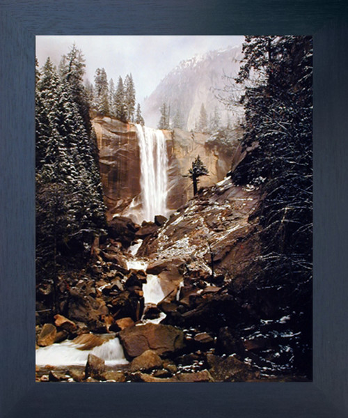 Vernal Fall Yosemite National Park Waterfall Scenery Wall Decor Espresso Framed Picture Art Print (20x24)