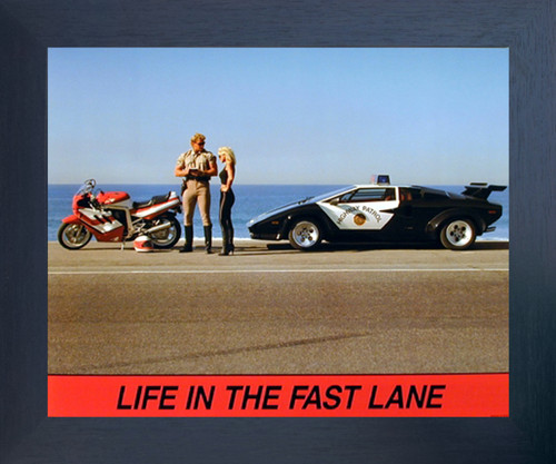 "Lamborghini Car ""Life in the Fast Lane"" Funny Motorcycle Biker Wall Decor Espresso Framed Picture Art Print (20x24)"