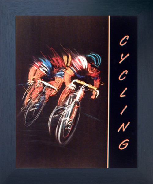 Cycling Bicycle Race Sport Motivational Fine Wall Decor Espresso Framed Picture Art Print (20x24)