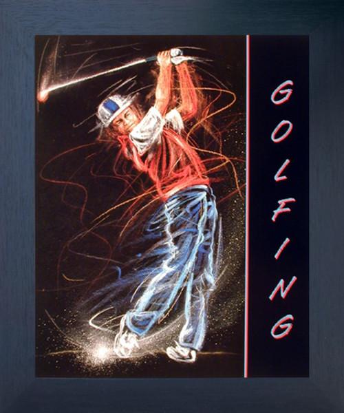 Golfing Sport Club Motivational Fine Wall Decor Espresso Framed Picture Art Print (20x24)
