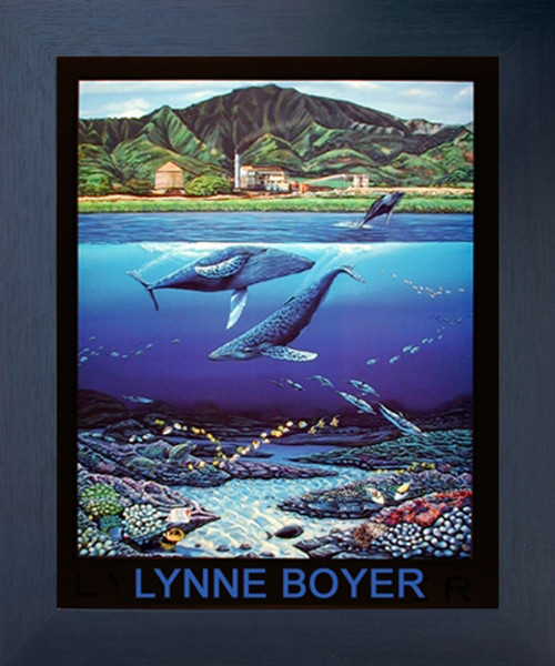 Tropical Underwater Whale & Dolphins Sea Ocean Animal Wall Decor Coral Espresso Wall Framed Art Print Picture (20x24)