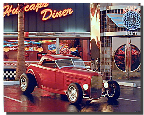 Red Ford Roadster Car Poster