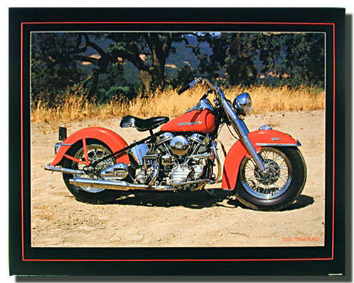Red Panhead Harley Davidson Motorcycle Posters