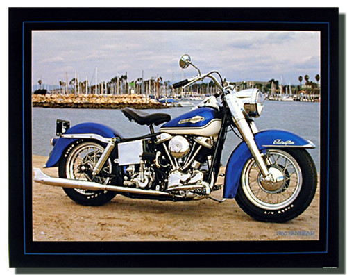 Blue Panhead Harley Davidson Motorcycle Posters