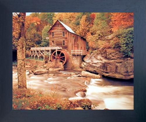 Glade Creek Wood Grist Mill Landscape Nature Wall Decor Picture Espresso Framed Art Print (20x24)