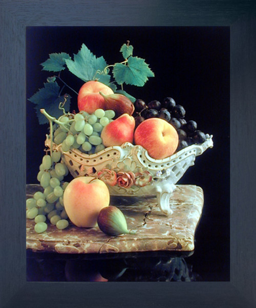 Fruit Grapes & Apple in Bowl Still Life Kitchen Wall Decor Espresso Framed Picture Art Print (20x24)