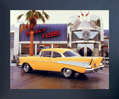 Yellow Chevy Bel Air 1957 Vintage Car Wall Picture Espresso Framed Art Print (20x24)