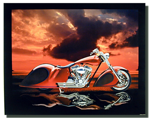 Red Custom Motorcycle Posters