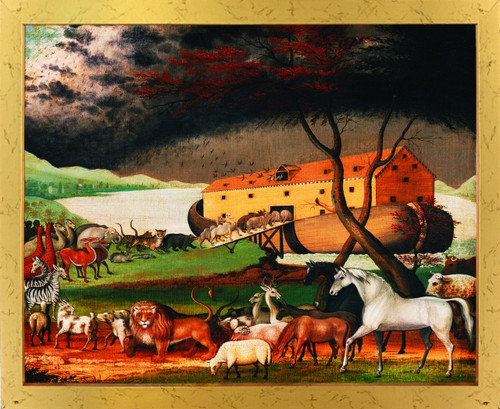 Noah's Ark By Edward Hicks Kids Room Golden Framed Wall Decor Art Print Poster (18x24)