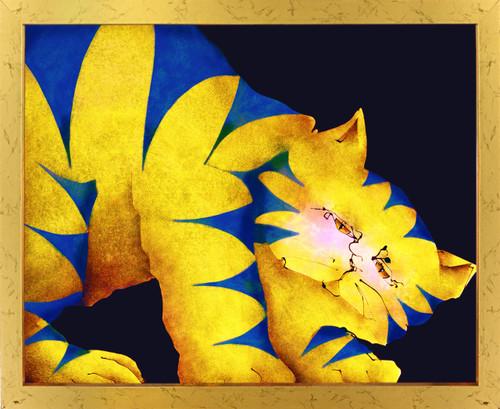 Yellow Fat Cat Room Wall Decor Golden Framed Art Print Poster (18x24)